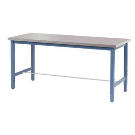 "72""W x 30""D Production Workbench - Stainless Steel Square Edge - Blue"