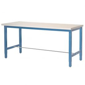 "72""W x 30""D Production Workbench - Plastic Laminate Safety Edge - Blue"