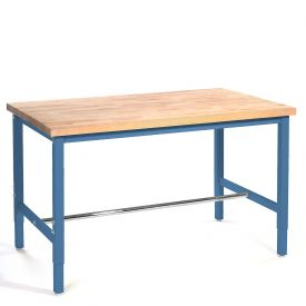 "72""W x 30""D Production Workbench - Maple Butcher Block Safety  Edge - Blue"