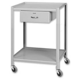 "Pucel™ TU-2436-2-1D Mobile Table 2 Shelves 1 Drawer 5"" Casters 36 x 24"