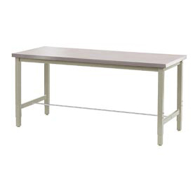 "72""W x 30""D Production Workbench - Stainless Steel Square Edge - Tan"