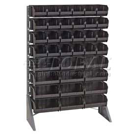 "Quantum QRU-12S-240-24CO Single Sided Floor Rail Rack w/ 24 14-3/8""D Conductive Bins, 36x15x53"