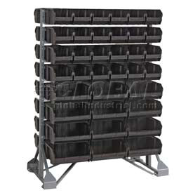 "Quantum QRU-16D-230-96CO Double Sided Floor Rail Rack w/ 96 10 7/8""D Conductive Bins, 36x20x53"