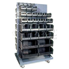 "Quantum QMD-36H-240CO Mobile Double Sided Floor Rack 56 14-3/4""D Conductive Bins, 36x25x72"
