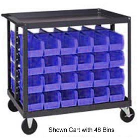 "Quantum QRC-4D-230-48 1/2 Mobile Bin Cart With 48 10-7/8""D Stacking Bins Blue, 36"" x 24"" x 35-1/2"""