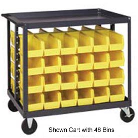 "Quantum QRC-4D-230-48 1/2 Mobile Bin Cart With 48 10-7/8""D Stacking Bins Yellow, 36"" x 24"" x 35-1/2"""