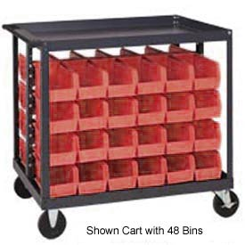 "Quantum QRC-4D-230-48 1/2 Mobile Bin Cart With 48 10-7/8""D Stacking Bins Red, 36""L x 24""W x 35-1/2""H"