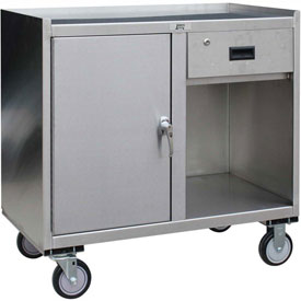 Jamco Stainless Steel Mobile Cabinet YX136 with 1 Door & 1 Drawer 36x18 1200 Lb.