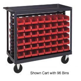 "Quantum QRC-7D-200-96 1/2 Mobile Bin Cart With 96 5""D Stacking Bins Red, 36""L x 18""W x 35-1/2""H"