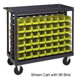 "Quantum QRC-7D-210-96 1/2 Mobile Bin Cart With 96 5-3/8""D Stacking Bins Yellow, 36"" x 18"" x 35-1/2"""