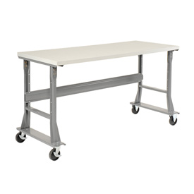 "72""W x 30""D Mobile Workbench - ESD Square Edge - Gray"