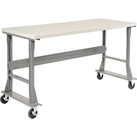 "72""W x 36""D Mobile Workbench - ESD Square Edge - Gray"