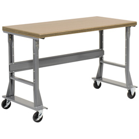 "60""W x 30""D Mobile Workbench - Ash Butcher Block Safety Edge - Gray"