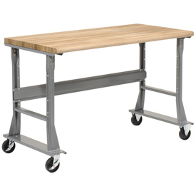 "72""W x 36""D Mobile Workbench - Ash Butcher Block Safety Edge - Gray"