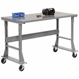 "72""W x 30""D Mobile Workbench - Steel - Gray"