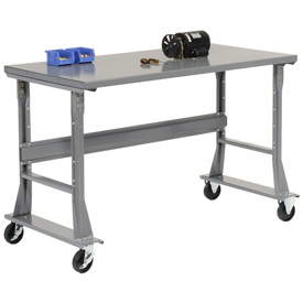 "72""W x 36""D Mobile Workbench - Steel - Gray"