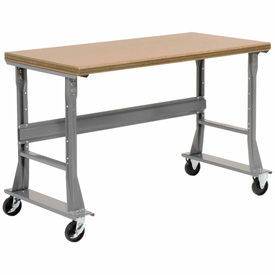 "60""W x 36""D Mobile Workbench - Shop Top Square Edge - Gray"