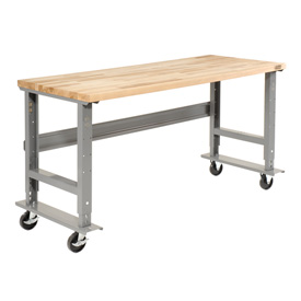 "60""W x 30""D Mobile Workbench - Maple Butcher Block Square Edge - Gray"