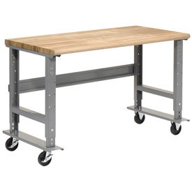 "60""W x 30""D Mobile Workbench - Maple Butcher Block Safety Edge - Gray"