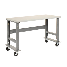 "72""W x 30""D Mobile Workbench - Plastic Laminate Safety Edge - Gray"
