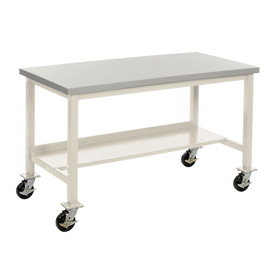 "72""W X 36""D Mobile Plastic Laminate Safety Edge Lab Bench - Tan"