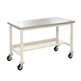 "60""W X 30""D Mobile Stainless Steel Square Edge Lab Bench - Tan"
