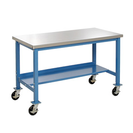 72 x 30 Mobile Stainless Steel Square Edge Lab Bench - Blue