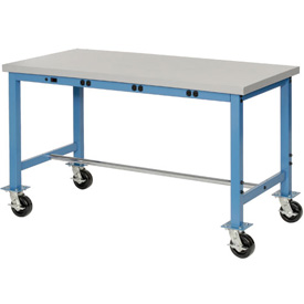 72X36 Plastic Safety Edge Mobile Power Apron Lab Bench-Blue