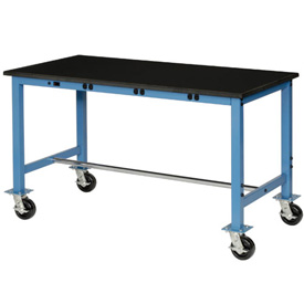 60X30 Phenolic Safety Edge Mobile Power Apron Lab Bench-Blue