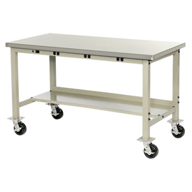 "60""W X 30""D Mobile Lab Bench with Power Apron - Plastic Laminate Square Edge - Tan"