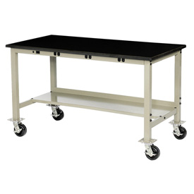 """60""""W X 30""""D Mobile Lab Bench with Power Apron - Phenolic Safety Edge - Tan"""