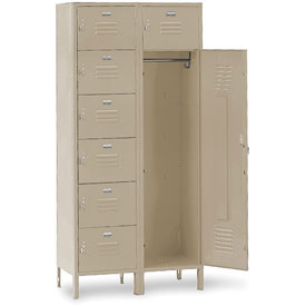 Penco 6573V073 Vanguard 7 Person Locker 36x18x72 Ready To Assemble Champagne