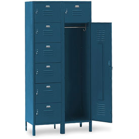 Penco 6573V806 Vanguard 7 Person Locker 36x18x72 Ready To Assemble Marine Blue