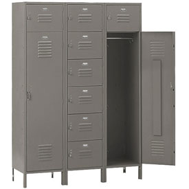 Penco 6577V028 Vanguard 8 Person Locker 54x18x72 Ready To Assemble Gray