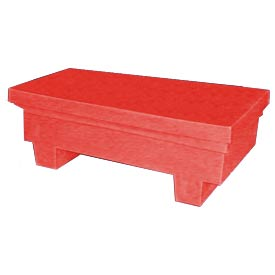 Bayhead EW-4ExRED Low-Profile Container With Lid 33-1/2x17x11-1/2 300 Lb Cap. Red