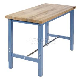 "48""W x 24""D Production Workbench Return - Maple Butcher Block Square Edge - Blue"