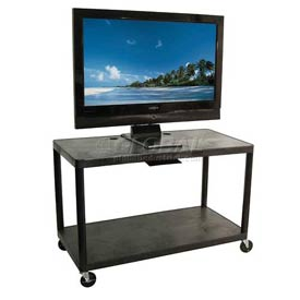 "Luxor Black Plasma & Flat Panel Monitor Shelf Cart 32"" H 2 Shelves"