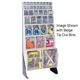 "Quantum Tip Out Bin Floor Stand QFS148-38- Single Sided 48"" H Gray"