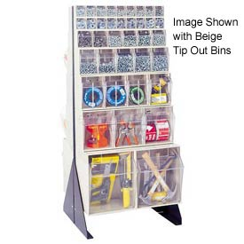 "Quantum Tip Out Bin Floor Stand QFS248-76- Double Sided 48"" H Gray"
