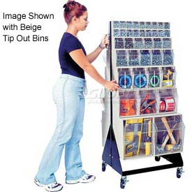 "Quantum Mobile Tip Out Bin Floor Stand QFS248-76+QFS400- Double Sided 48"" H Gray"