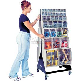 "Quantum Mobile Tip Out Bin Floor Stand QFS248-76+QFS400- Double Sided 48"" H Ivory"