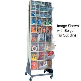 "Quantum Mobile Tip Out Bin Floor Stand QFS270-72+QFS400- Double Sided 70"" H Gray"