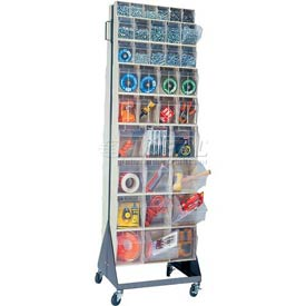 "Quantum Mobile Tip Out Bin Floor Stand QFS270-72+QFS400- Double Sided 70"" H Ivory"