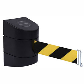 Tensabarrier Black Warehouse Rack Wall Mount 24'L Black/Yellow Chevron Retractable Belt Barrier
