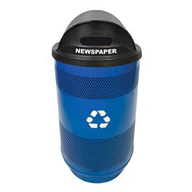 Recycling 55 Gallon Container with Plastic Liner & Dome Lid - Slot/Slot