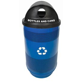 Recycling 55 Gallon Container with Two Plastic Liner & Dome Lid - Hole/Hole