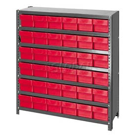 Quantum CL1239-601 Closed Shelving Euro Drawer Unit - 36x12x39 - 36 Euro Drawers Red