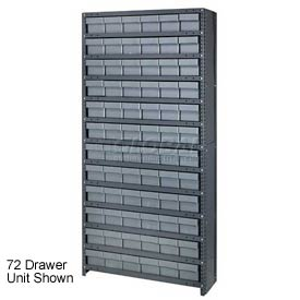 Quantum CL1275-801 Closed Shelving Euro Drawer Unit - 36x12x75 - 36 Euro Drawers Gray