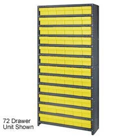 Quantum CL1275-801 Closed Shelving Euro Drawer Unit - 36x12x75 - 36 Euro Drawers Yellow