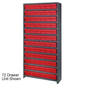 Quantum CL1275-701 Closed Shelving Euro Drawer Unit - 36x12x75 - 48 Euro Drawers Red